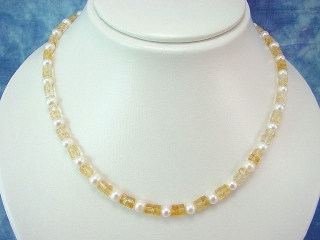 Citrine necklace - faceted Citrine with white Pearls 45 cm